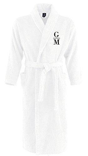 Monogrammliebe Bademantel aus 100% Baumwolle • Zwei aufgesetzte Seitentaschen • Passender Gürtel (Charlotte S/M Weiss)