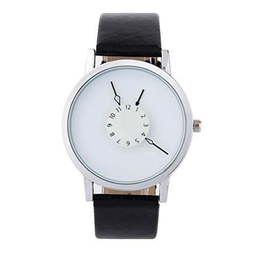 UKCOCO Reloj Blanco Reloj de Pulsera de Cuarzo de Cuero Reloj de Pulsera de Vestir de Negocios Reloj Deportivo Impermeable Casual para Hombre