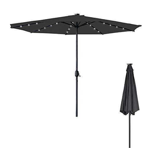 Aufun Sonnenschirm mit LED Ø350 cm Gartenschirm mit Handkurbel aus Polyester Sonnenschutz UV-Schutz 40+, Terrassenschirm für Balkon, Terrasse & Garten, Rund, 8 Streben, 32LEDs, Dunkelgrau