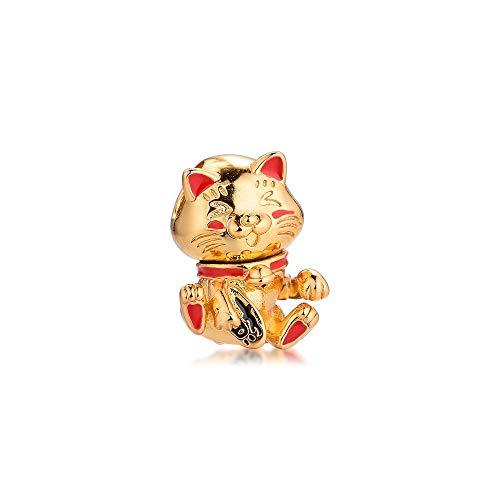 LILANG Pulsera de joyería Pandora 925, encantos de Gato de la Fortuna Bonitos Naturales, Cuentas de Plata esterlina Originales para Hacer Regalos para Mujeres, Bricolaje
