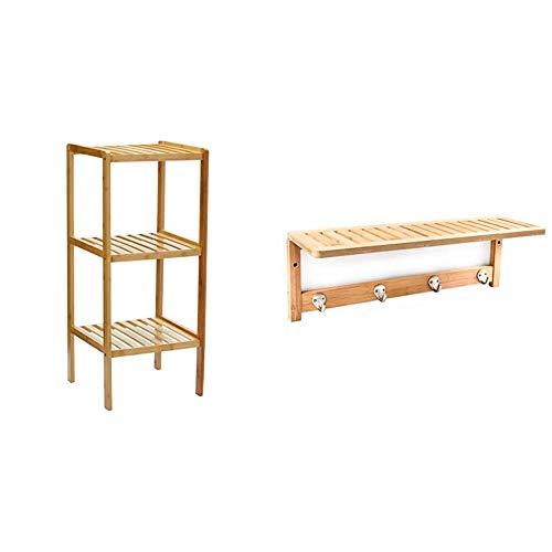 Relaxdays Estante para el baño, Natural Bambú + 10017154 Sostenedor de la...