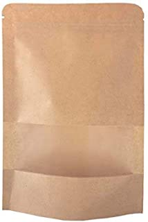 SumDirect Kraft Zip Lock Stand Up Food Bags Resealable Pouches with Notch and Matte Window,3.5x5.5 Inches,0.93oz,Pack of 50