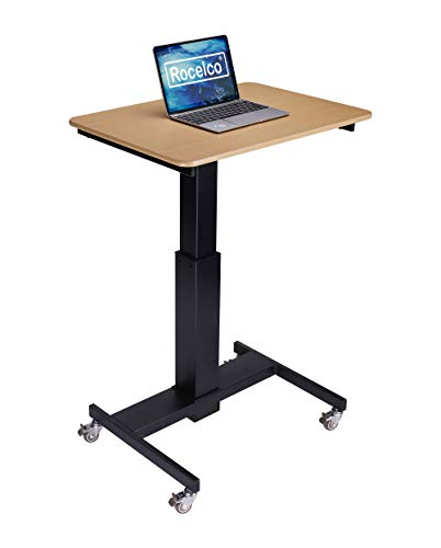 Rocelco 28' Height Adjustable Mobile School Standing Desk | Quick Sit Stand Up Home Computer Workstation | Gas Spring Assist Office Laptop Riser Cart | Wood Grain (R MSD-28), Black