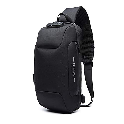 Sling Bag for Men Shoulder Crossbody Backpack Waterproof Sling Backpack with USB Charging Port Anti Theft Chest Pack Bag Casual Daypack Fit 9.7 Inch Ipad (Black)