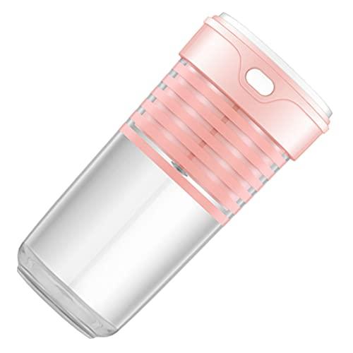 Hemoton Licuadora Portátil Mini Exprimidor de Frutas Taza Personal Pequeña Máquina Mezcladora de Jugo Eléctrico Botella de Viaje para Batidos de Frutas Jugo de Leche Batidos Rosa DIY