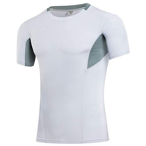 Camisa de gimnasia Compresión Sport camisa apretada Capas entrenamiento del entrenamiento de base de los hombres camiseta Ejecución de entrenamiento de la gimnasia ( Color : White , Size : L )