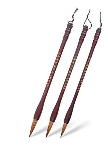 YXCUIDP Pinceles de caligrafía china de 3 piezas con cepillo de escritura de cabello de lana para la práctica de pintura china.