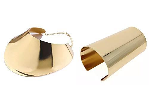 gran con junto de metal geometrica Africana declaracion establece de aleacion collare gragantilla vestido bracelete de moda chapado en ora en conjunto de joyas (C.M.PULSERA ORO)