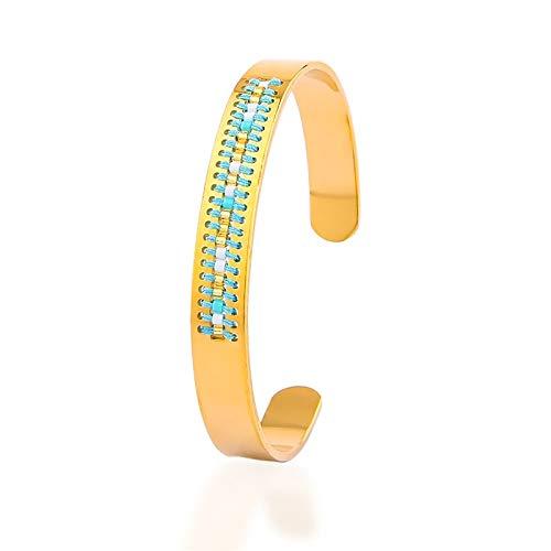 Ifabit damesarmbanden, manchetknopen, gekleurde rocailles-parels, armband, goudkleurig, sieraden, gemaakt van roestvrij staal, voor dames, knutselen, logo, armband van goud 05