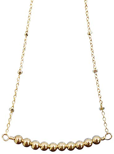 14K Gold-Filled Beaded Bar Pendant - Ever Necklace Mixed Bargain Now on sale Metal