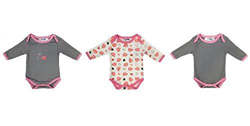 Schlummersack Baby body met lange mouwen voor meisjes en jongens van 100% katoen in 3-pack in verschillende maten 86 Olifanten roze