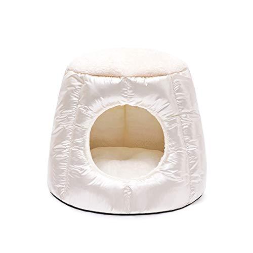 Cat Nest Bed Kennel Winter Warm Pet Cat Sofa Kussen Hondenmand Slaapgrotbed Voor Katten Puppy, Wasbaar In De Machine (Color : Beige)