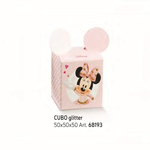 Minnie Ballerina Bonboniere kubus confetti inleg Minnie Ballerina Disney Pink 5x5xh5 cm Set 10 stuks Art 68193