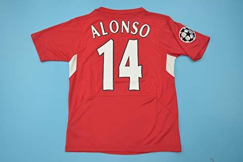 XABI Alonso#14 Retro Soccer Jersey Camiseta DE FÚTBOL 2005 Champion League Patch...