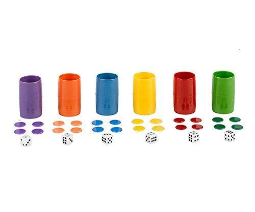 Falomir- Acc Parchís Set Completo de 6 cubiletes de plásti