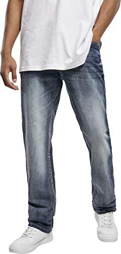 Southpole Herren Cross Hatch Basic Denim Jeans, md.Sand Blue, 34/34