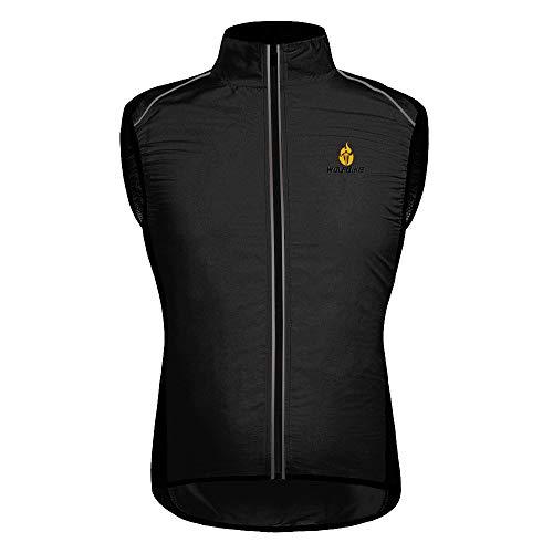 HYSENM Chaleco sin mangas para ciclismo y bicicleta de montaña con logo Tour de France [Cortavientos + Transpirable + Reflectante] Poliéster XXL Negro