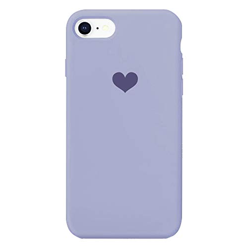 Für iPhone 7 Hülle Silikon Schutzhülle Handyhülle für iPhone 8 Silikonhülle für iPhone SE 2020 Herz Motiv schutzschale Hüllen Tasche Handytasche Weiche Etui (Lila, iPhone 7/iPhone 8/iPhone SE 2020)