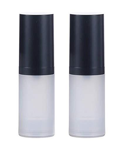 Lot de 2 flacons vides de 20 ml en plastique givré transparent pour lotion à pompe sans air avec tête de pompe noire pour cosmétiques, maquillage, émulsion de voyage claire 20ml