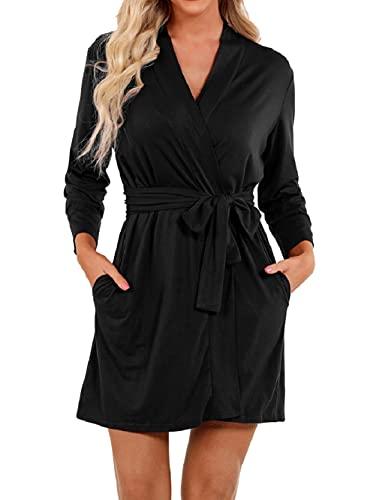 UMIPUBO - Albornoz de baño para mujer, 2 bolsillos, cinturón suave y cómodo y absorbente BK. XL