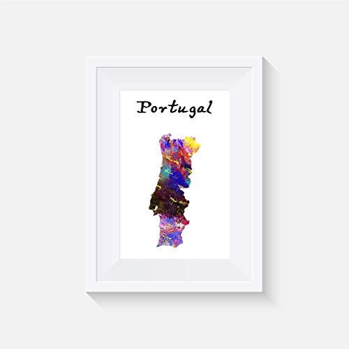 Portugal - Inspiriert - Drucken - Poster - Aquarell - Wandkunst- verschiedene Größen(Rahmen Nicht Inbegriffen)