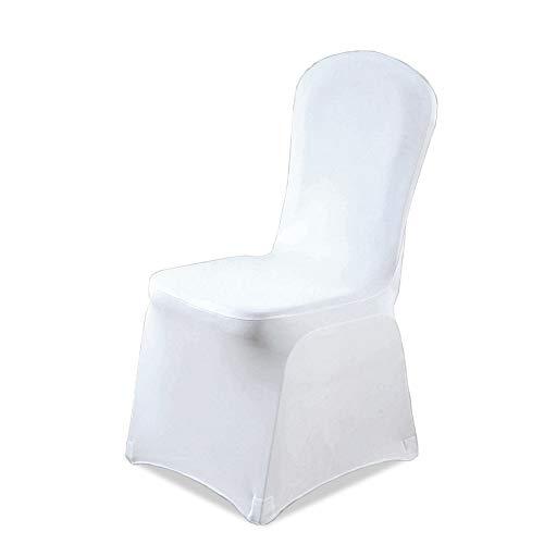 Hengda 50 Stück Universell Stuhlhussen Weiß Stuhlbezüge Elastik Stuhl Abdeckung für Hochzeiten und Feiern Pflegeleicht und Langlebig