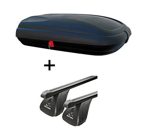 Dachbox VDPBA320 320Ltr carbonlook abschließbar + Stahl Dachträger Aurilis Original kompatibel mit Opel Meriva II (5Türer) ab 2010