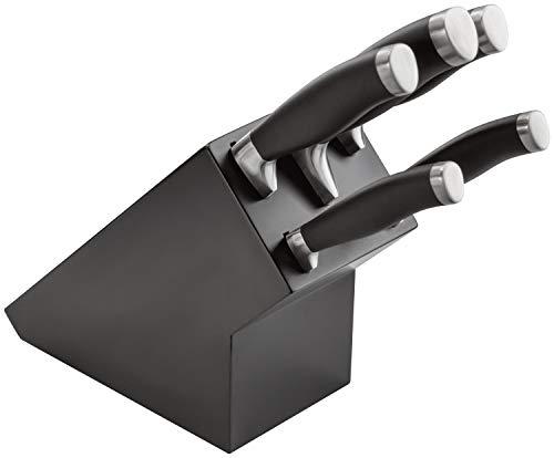 Stellar James Martin IJ61B Kitchen Knife Set, Matt Black Block with Knives - 5 Piece Set Carbon Stainless Steel, Razor Sharp Blades, Anti-Slip Handles