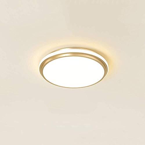 KAIKEA Lámpara de techo acrílica ultrafina redonda dorada, luz de techo LED de montaje empotrado de 11 pulgadas, atenuación de tres colores moderna y simple, accesorios de techo, lámparas de bajo cons