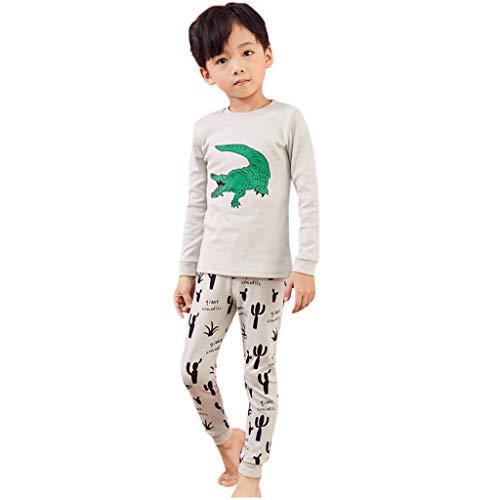 1-8 Años,SO-buts Niño Bebé Niños Otoño Invierno Dibujos Animados Cocodrilo Estampado Camisa Tops + Pantalones Pijamas Ropa De Dormir Conjunto De Trajes (Gris,3-4 años)