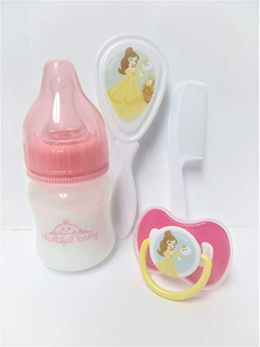 Unique Kids Boutique Reborn Baby Doll Bottle (2 oz Preemie Sized No Hole Nipple) + Magnetic Pacifier + Hair Brush + Comb Grooming 4 Piece Belle Princess Prop Gift Set