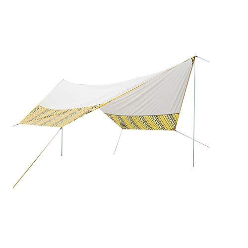 YBWEN Carpa 15.3x13.1 Pies Impermeable Lona Protectora Sombrilla Hamaca Lluvia Mosca Tienda con estacas Postes Cuerdas Equipo de Supervivencia para Acampar en la Playa Carpa para Camping