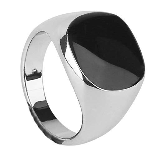 itchoate Anel de luxo masculino masculino vintage joias titânio aço dominador de obsidiana festa anel joias melhor presente de joias - branco e 21 mm