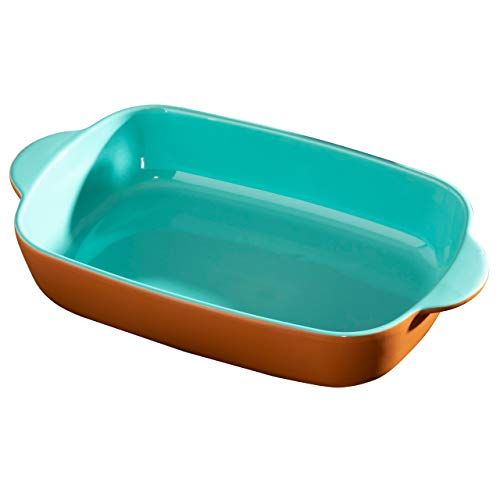Hairy Bikers CKW2057 Stoneware Rectangular (33.3 x 20 x 7.3cm) for Home Kitchens, Contrasting Colour Design (Teal and Terracotta), Large Baking Dish