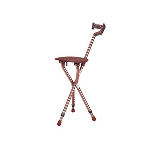 zyl Silla con muleta Plegable Patas para Caminar Taburete de bastón Asientos Bastón para Ancianos con Cuatro Conos Taburete de muleta de Altura Ajustable (Color: A (Gris Atenas))