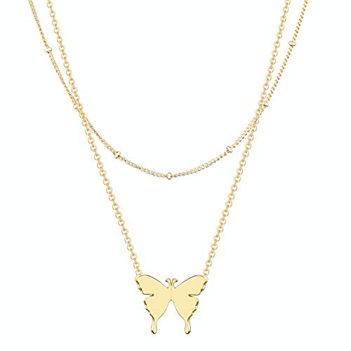 SHERLOVE Dainty Gold Butterfly Pendant Layered Necklace,14K Real Gold Plated Butterfly Choker Necklaces for Women Girls Personalized Jewelry Meaningful Gift Cute Necklace