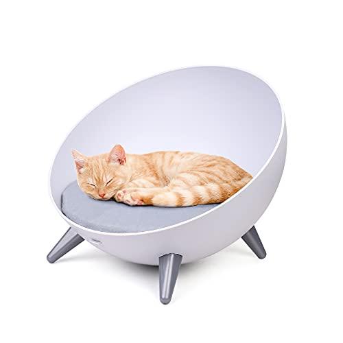 wuuhoo® I Haustiersofa Monty im modernen Retro Design I Hunde-und Katzen Couch im avantgarde Stil I Hunde-und Katzen-Bett rund in hellgrau mit sehr bequemen Kissen I waschbarer Bezug