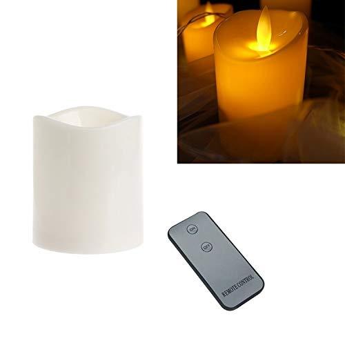 XUAILI Kandelaar cilindrische LED Elektronische Candle Light Simulatie Huwelijk Kaarsenstandaard Kaars met afstandsbediening (grootte: 10x7.5cm)