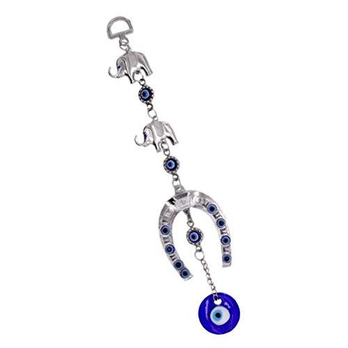 BESPORTBLE Colgante turco contra el mal de ojo de la suerte elefante azul mal de ojo Hamsa Nazar perla colgante bendición fiesta de inauguración regalo para casa coche 25 x 3 cm