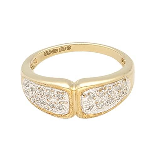 Anillo de oro amarillo de 9 quilates para mujer con diamante de 0,15 quilates (talla N) 7 mm de ancho, anillo de lujo para mujer