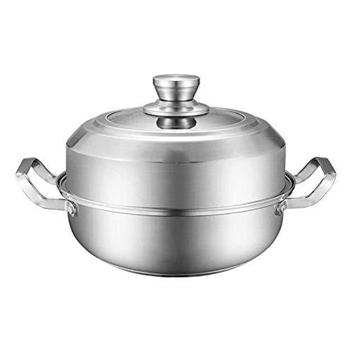 SFLRW Stainless Steel Steamer Pot - Multi-Layer Stackable Saucepot Cookware with Septa - Soup Boiler Pot & Hotpot for Vegetables, Seafood, Dumplings, Meat, Bun, Corn, Crab, Lobster (Size : 30CM)