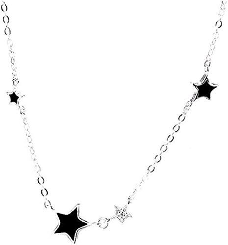 Collana Fashion Simple Five Points Star Collana epossidica Collana nera con catena di gioielli in cristallo con clavicola