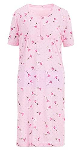 Romesa Damen Nachthemd kurz Baumwolle Schlafshirt Blumen, Größe:XL, Farbe:Rosa