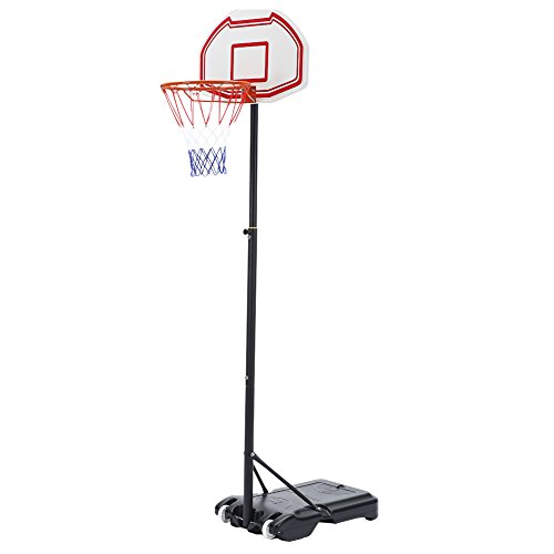 Seatopia Basketball Hoop System Height Adjustable Portable 28 Inch Backboard W/ Wheels for Kids, Junior, Adults