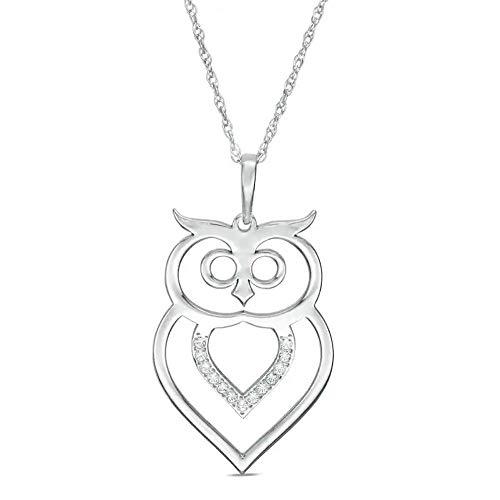 Colgante de búho de 1/20 ct T.W. en forma redonda de diamante Sim transparente cortado con láser para mujeres en plata 925 chapada en oro blanco de 10 quilates
