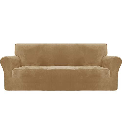 MAXIJIN Thick Velvet Sofabezüge 3-Sitzer Super Stretch rutschfeste Couchbezug für Hunde Katze Haustierfreundlich 1-teilige elastische Möbel Protector Plüsch Sofa Schonbezüge (3 Sitzer, Kamel)