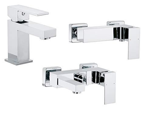 Calmwaters® - Modern Square 2 - Eckige Armaturen fürs Badezimmer im Komplett-Set für Badewanne, Waschbecken und Dusche - 99000176