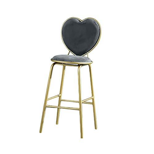 QWEA Taburetes de Bar, Taburete Alto de Bar Moderno con Respaldo cómodo en Forma de corazón, cojín de Espuma Engrosada y reposapiés de Comodidad, Altura del Asiento de 65 cm (Color: Gris)