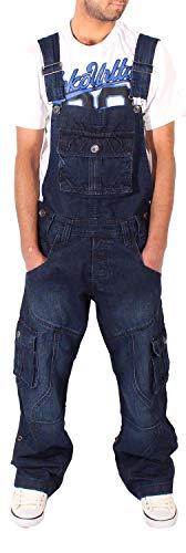 Peviani Herren Cargo Combat Locker Sitzend Jeans-Latzhose, Dunkle Waschung Blau, Taille 30' - 44' - Dunkle Waschung Blau, 30W / 33L