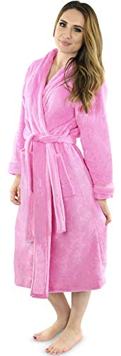 NY Threads Womens Fleece Bathrobe - Shawl Collar Soft Plush Robe Spa Robe (Medium, Pink)